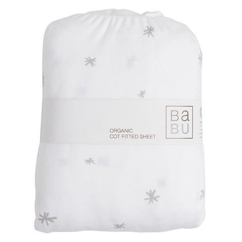 Organic Cotton Jersey Fitted Bottom Cot Sheet - Grey Star