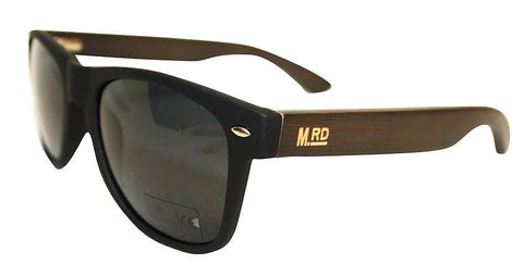 Wooden Sunglasses - Matte Black with Dark Arms & Brown Lens