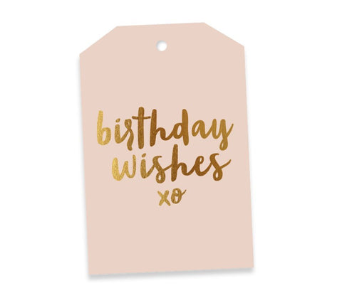 Birthday Wishes Blush & Gold Gift Tag