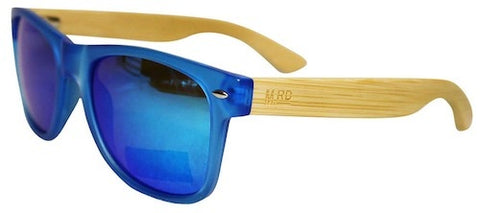 Wooden Sunglasses - Transparent Blue with Plain Arms & Reflective Lens