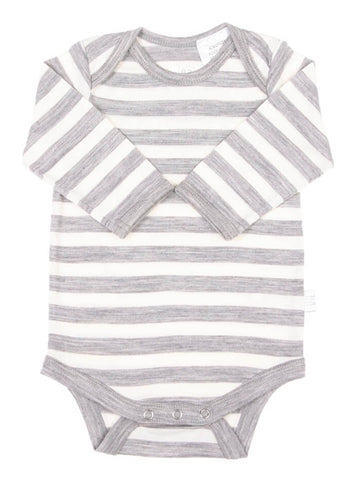 Merino Bodysuit - Grey Stripe