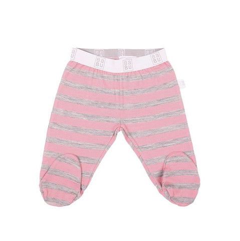 Merino Leggings with Feet - Pink Stripe