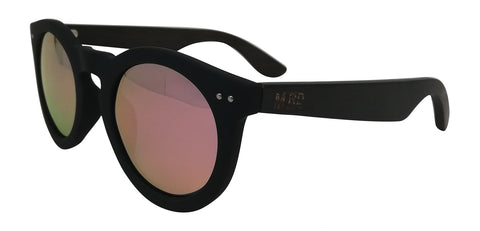 Wooden Sunglasses - Grace Kelly Pink Reflective Lens