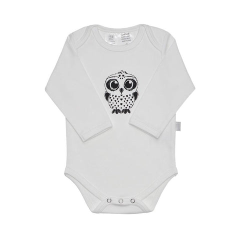 Organic Cotton Bodysuit - White with Grey Owl