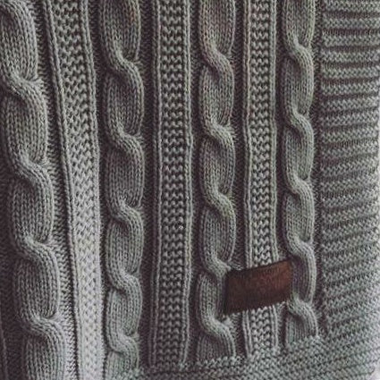 Cable Knit Blanket - Grey