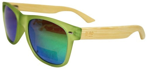 Wooden Sunglasses - Transparent Green with Plain Arms & Reflective Lens