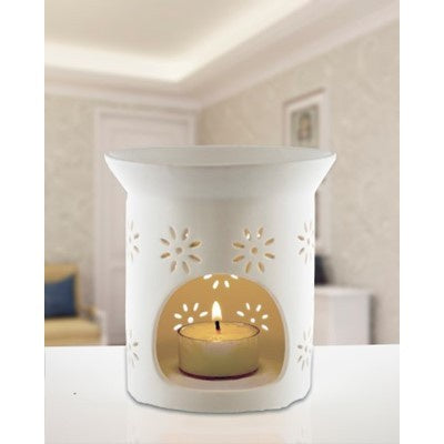 White Ceramic Oil Burner - Dish