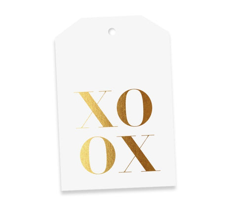 XOXO White & Gold Gift Tag