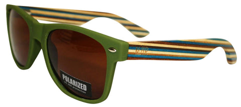 Wooden Sunglasses - Matte Green with Striped Arms & Brown Lens
