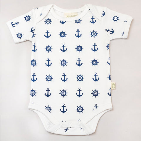 Organic Cotton Short Sleeve Bodysuit - Nautical