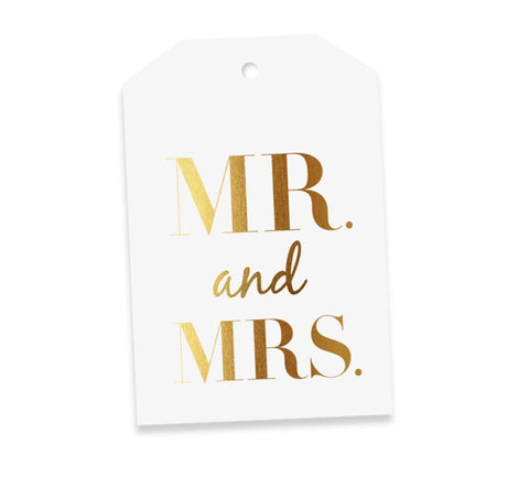 Mr & Mrs White & Gold Gift Tag