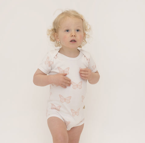 Organic Cotton Short Sleeve Bodysuit - Butterfly