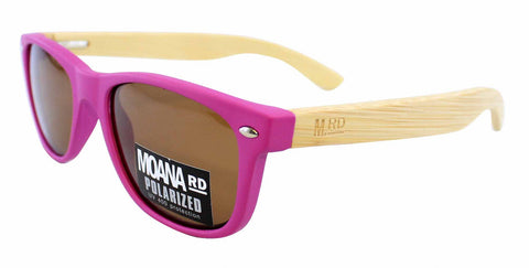 Kids Wooden Sunglasses - Pink with Brown Lens