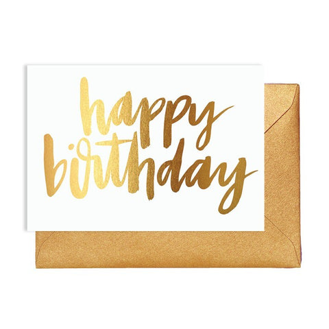 Happy Birthday White & Gold Card
