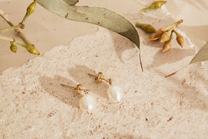 Small Pearl Pendant Earrings-made to order