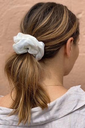 Large Silk Scrunchie in Porcelain