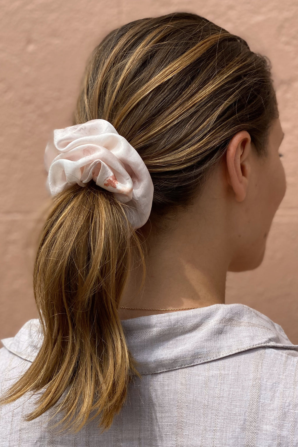 Large Silk Scrunchie in Blush