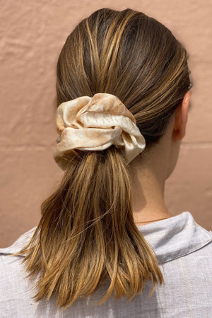 Large Silk Scrunchie in Coral