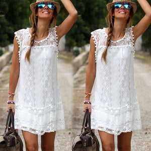 Dana Solid White Lace Dress