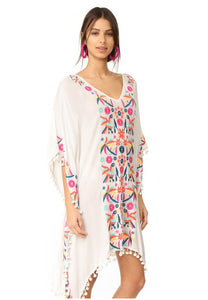 Jade Embroidered Caftan Dress