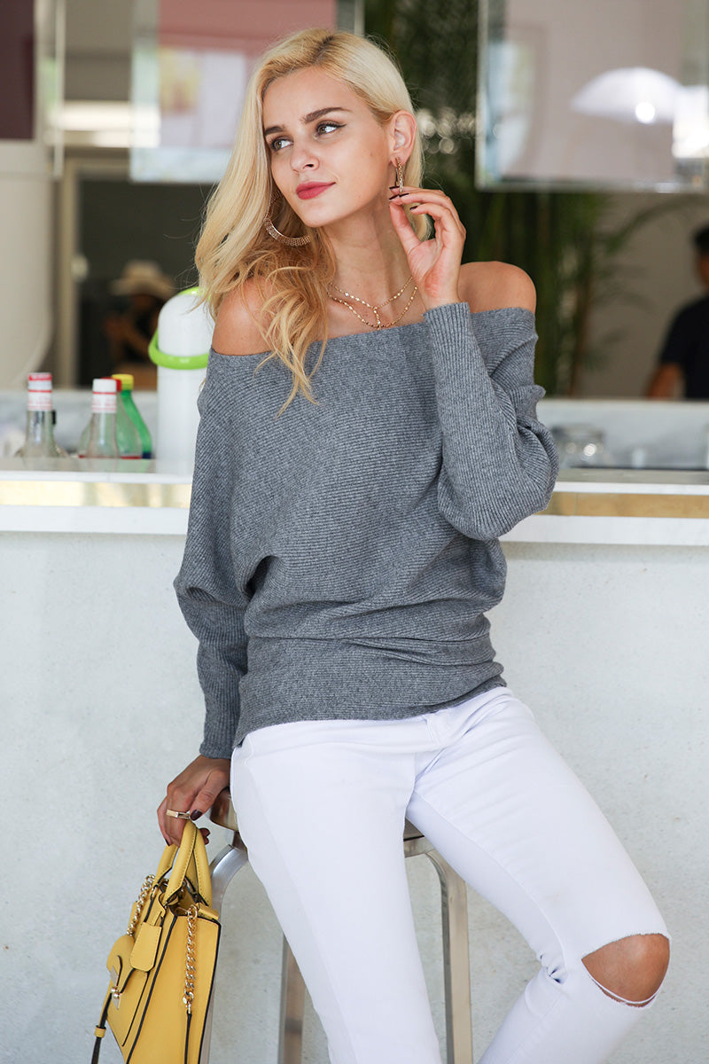 Camilla Hot Off Shoulder Bat Wing Sweater