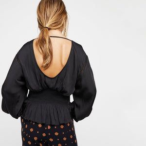 Amelia Lantern Sleeve Open Back Top