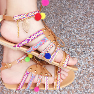 Jess Faux Leather Pom Pom Sandals