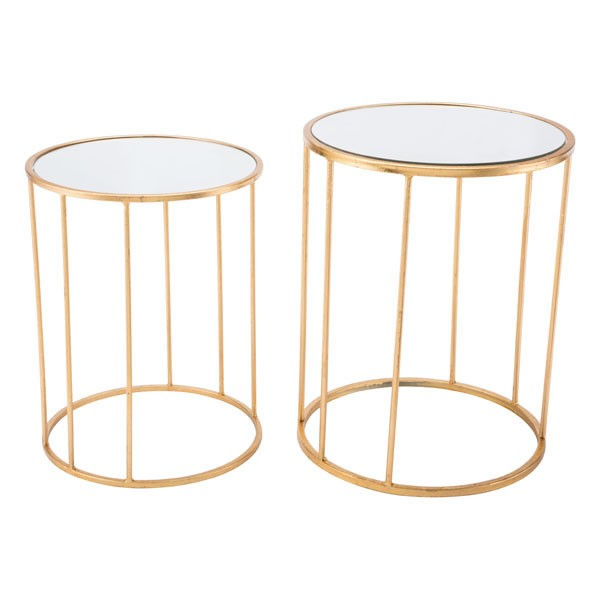 Finita Set Of 2 Nesting Round Tables Gld