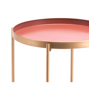 Red Short End Table Pink
