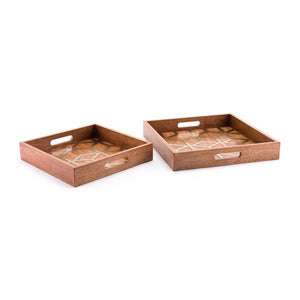 Clover Set Of 2 Trays Brown