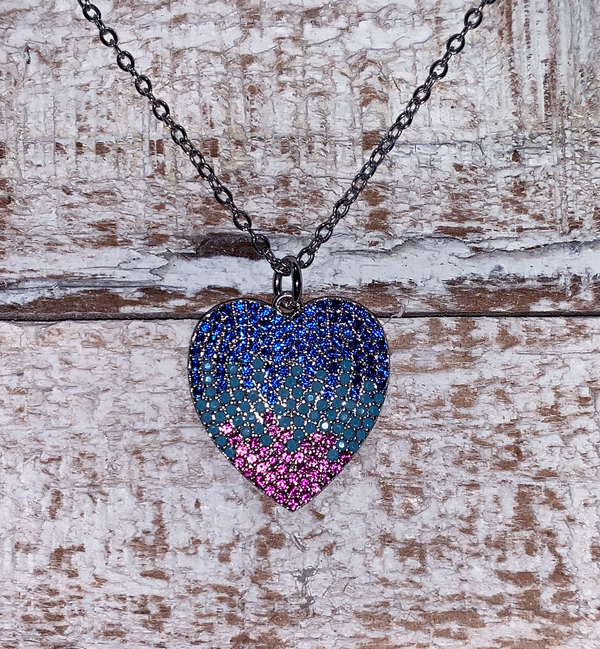 Yoga Brand Colorful Zirconia / Sterling Silver Heart Pendant Necklace, for that special lady.