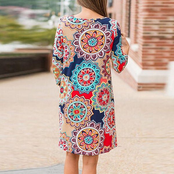 Boho Vintage Dress Womens Summer Autumn Three Quarter Maxi Evening Party Beach Floral A-Line Dress Soft Cotton