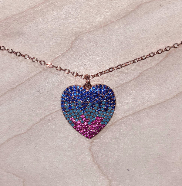 Yoga Brand Colorful Zirconia / Brass Heart Pendant Necklace, for that special lady.