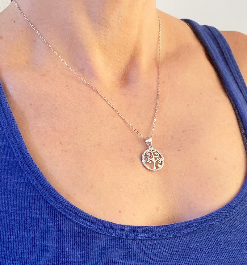 Yoga Brand Tree of Purity Pendant Necklace - Sterling silver with AAA Zirconia and Rose Gold Heart