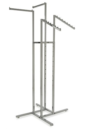Four Way Clothing Rack With 2 Slant Arm/2 Straight Arm
