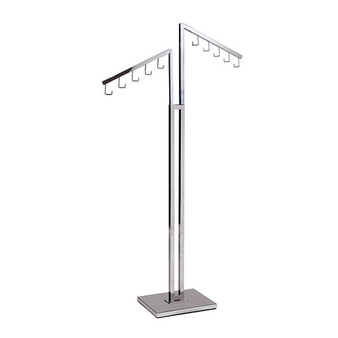 Two Way Clothing Rack With 5 Hook Waterfall Arm