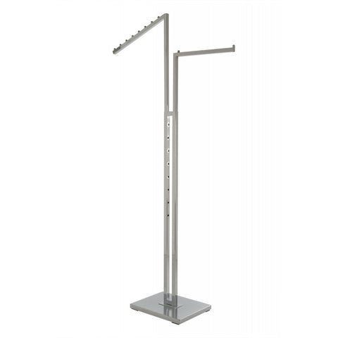 Two Way Clothing Rack With 1 Slant Arm/1 Straight Arm