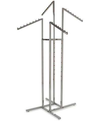 Four Way Clothing Rack With Four 8 Ball Slant Arms