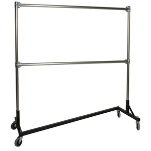 Double Bar Z Clothing Rack With Black Base