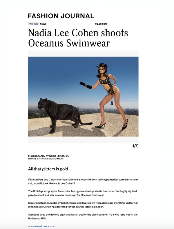 Fashion Journal: Nadia Lee shoots Oceanus Swimwear