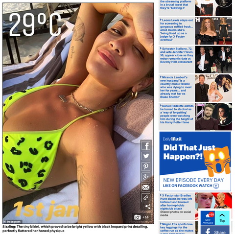 Pop Queen Rita Ora Wears Oceanus Featured In UK Press