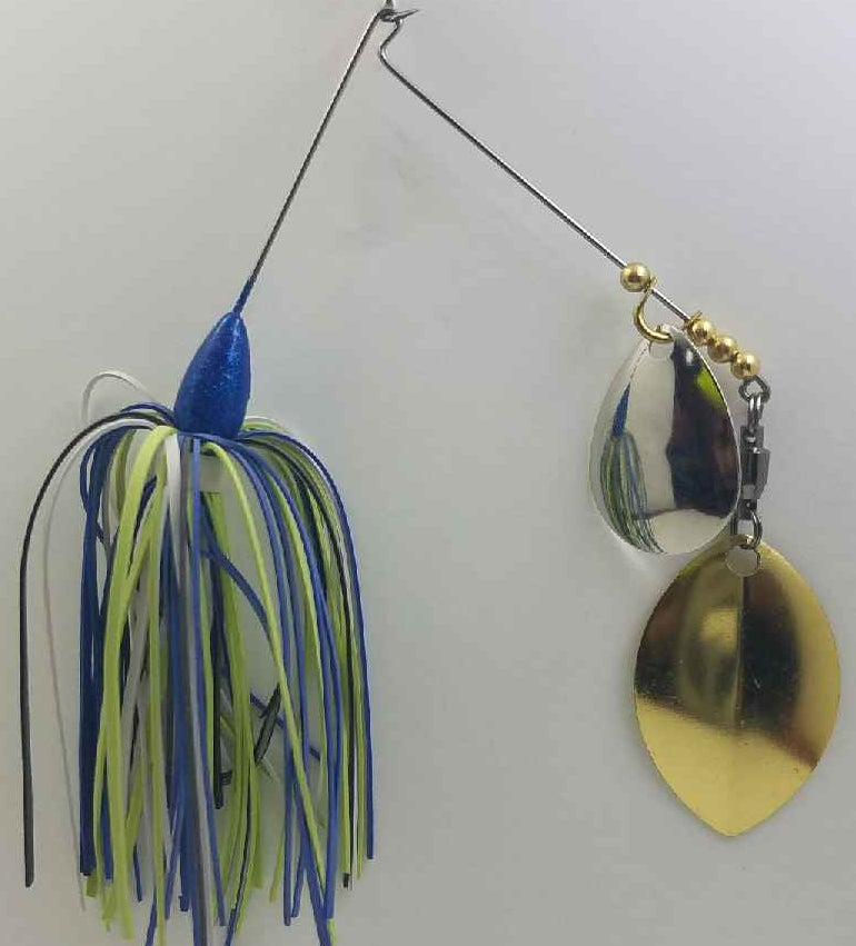 Disco Blue , White and Chartreuse Spinnerbait 1/4 oz.