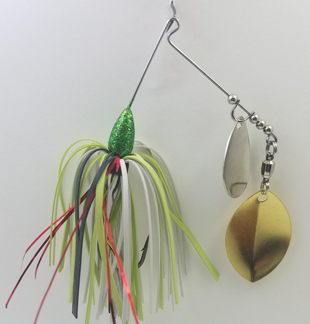 Disco Green, Red, White and Chartreuse Spinnerbait 1/4 oz.
