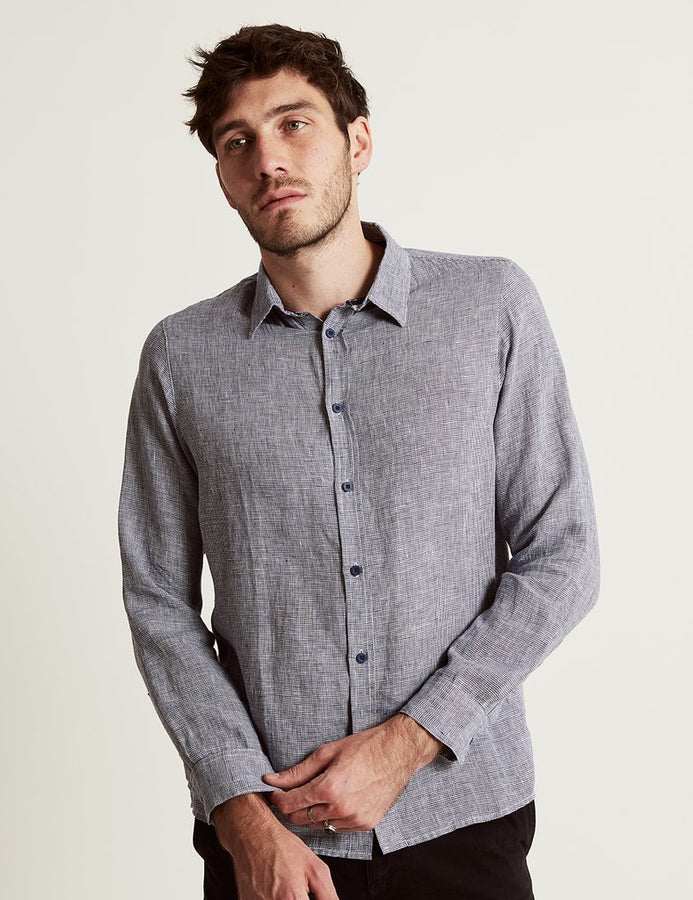 Linen L/S Shirt Houndstooth-Shirts-Mr. Simple-S-UPTOWN LOCAL