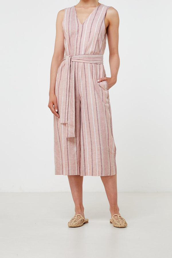 Florencia Jumpsuit Linen Stripe-Jumpsuits-Elka Collective-6-UPTOWN LOCAL