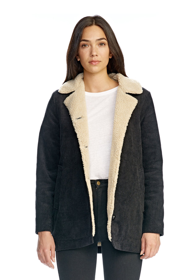 Sherpa Cord Coat Black-Jackets-Rolla's-UPTOWN LOCAL
