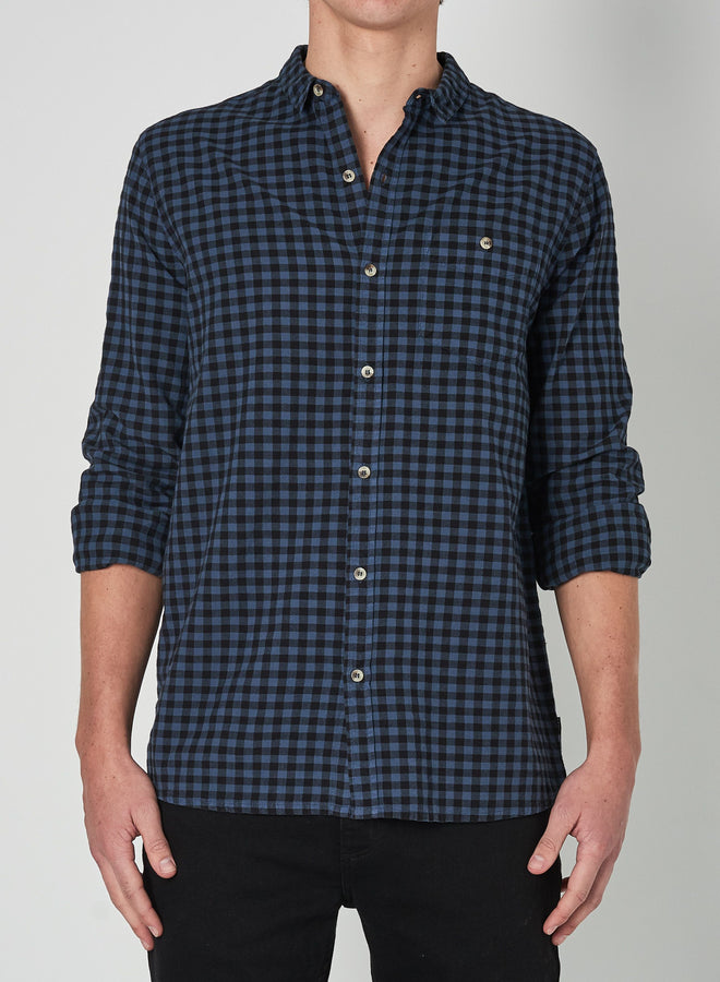 Men At Work Shirt Tradie Blue Check-Shirts-Rolla's-S-UPTOWN LOCAL