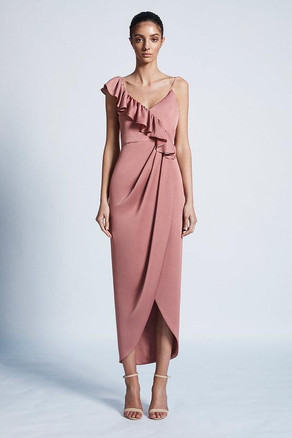 Luxe Asymmetrical Frill Dress Rose-Dresses-Shona Joy-UPTOWN LOCAL