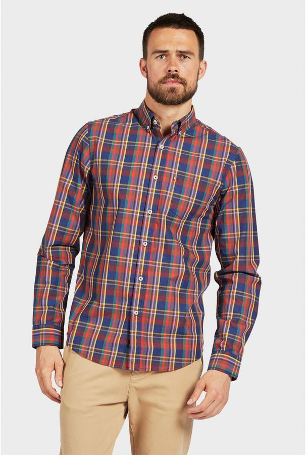 Addison Shirt Navy Check-Shirts-The Academy Brand-UPTOWN LOCAL