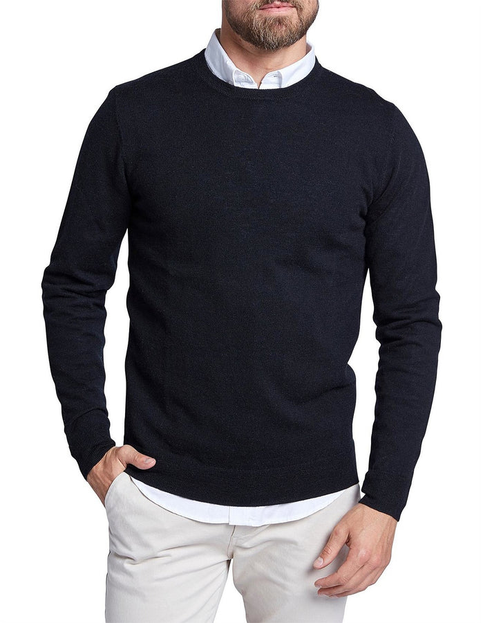 Academy Merino Crew Black-Jumpers-The Academy Brand-UPTOWN LOCAL